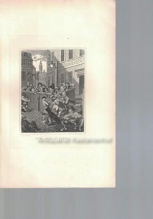 First stage of Cruelty. - Original-Radierung.,: Hogarth del.