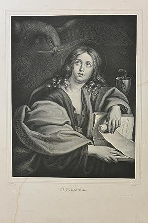 St. Johannes ,Original-Lithographie, Heiligendarstellung;Original-Lithographie, Heiligendarstellung...