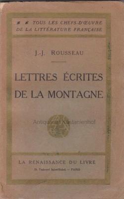 Lettres ecrites de la montagne.,Tous les chefs-d'oeuvre: Rousseau, Jean-Jacques