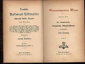 Grimmelshausens Werke II. Zweiter Teil. Der abentheuerliche Simplicius Simplicissimus.,Deutsche ...