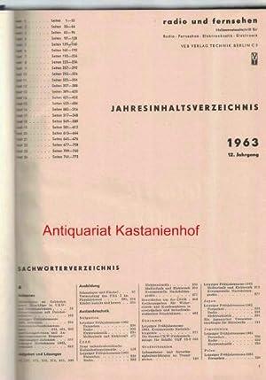 radio und fernsehen 1963 12. Jahrgang,Halbmonatszeitschrift für Radio, Fernsehen, Elektroakustik, ...