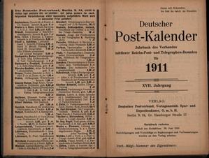 Deutscher Post-Kalender,Jahrbuch des Verbandes mittlerer Reichs-Post- und Telegraphen-Beamten f&...