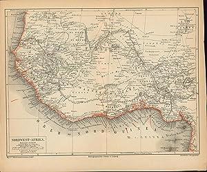 Nordwest-Afrika von 1874 Grenzkolorierte Karte,Maßstab 1:12.000.000: Historische Landkarte