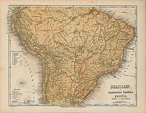 Brasilien, die Argentinischen Republiken, Bolivia, Peru u. Ecuador von 1865,Maßstab 1:20.000.000,,,...