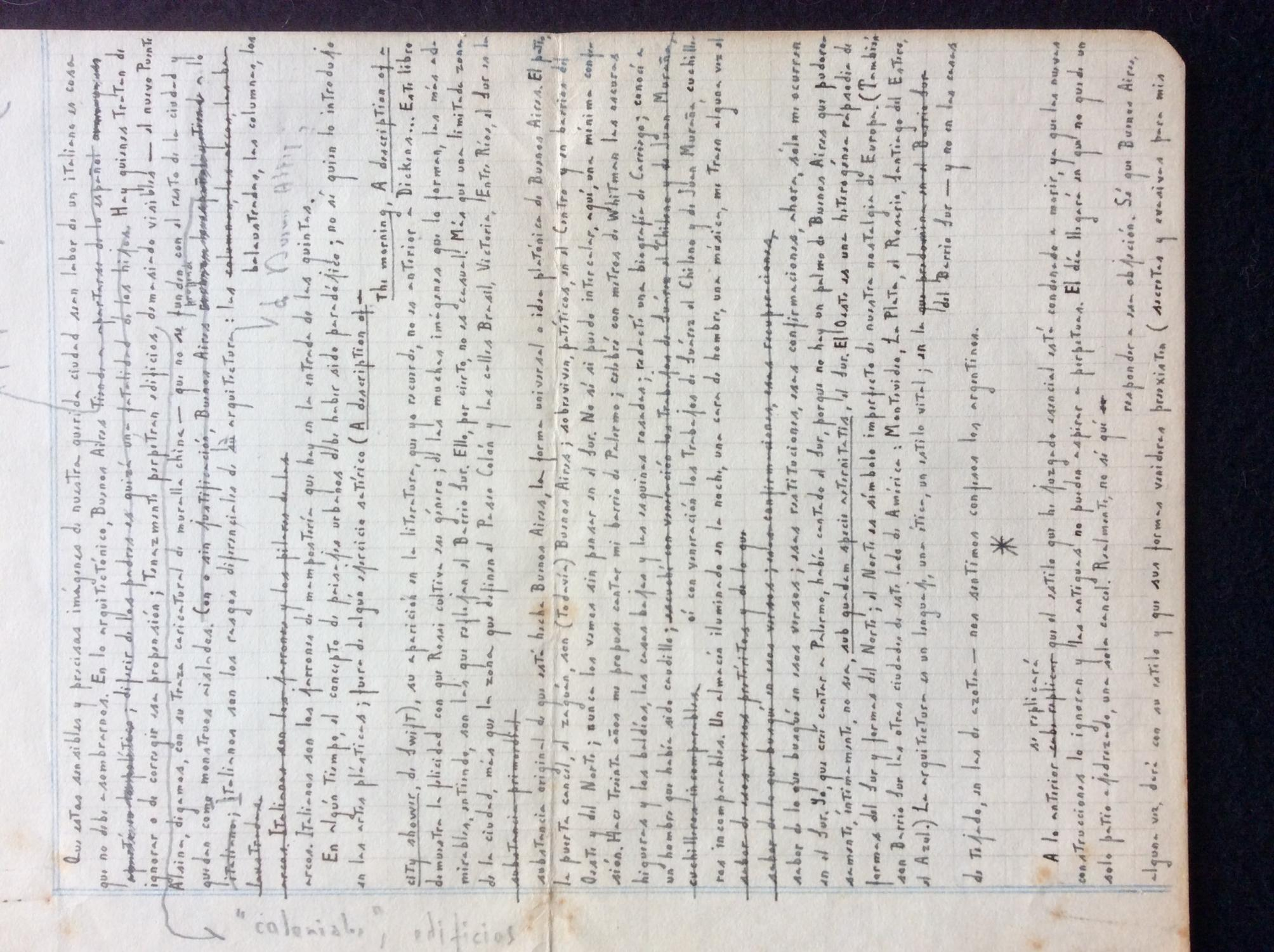 "Manuscrit original de """"Buenos Aires en Tinta China. Prologo."""" BORGES, Jorge Luis;"