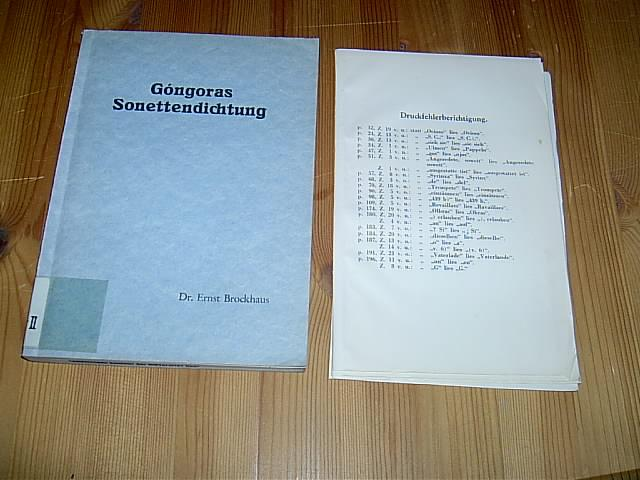 Góngoras Sonettendichtung.: Brockhaus, Ernst: