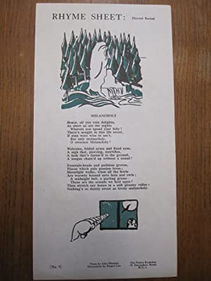 Melancholy. (Poetry Bookshop Rhyme Sheet): Fletcher, John