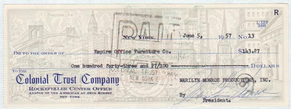 Signed Check Payable to Empire Office Furniture Company: Marilyn Monroe