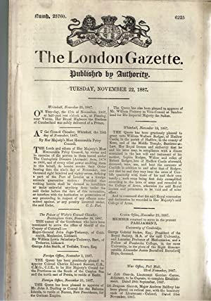 The London Gazette. Published by Authority. Tuesday Nov. 22nd. 1887