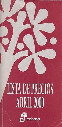 EDHASA: LISTA DE PRECIOS ABRIL 2000: VARIOS AUTORES
