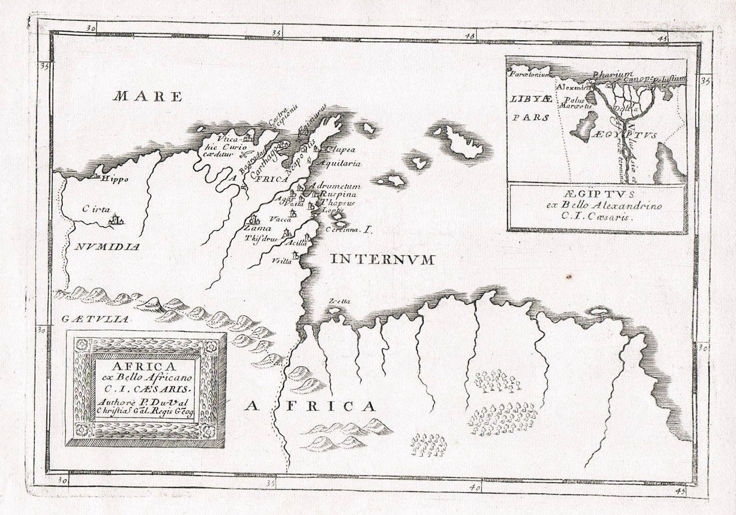 Carthago Tunisia Tunis Africa map Karte Kupferstich Duval Afrika ...