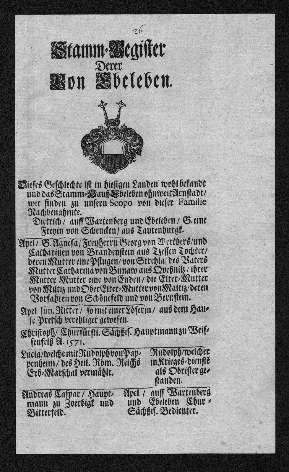 Ebeleben Stammbaum Ahnentafel family tree Wappen coat