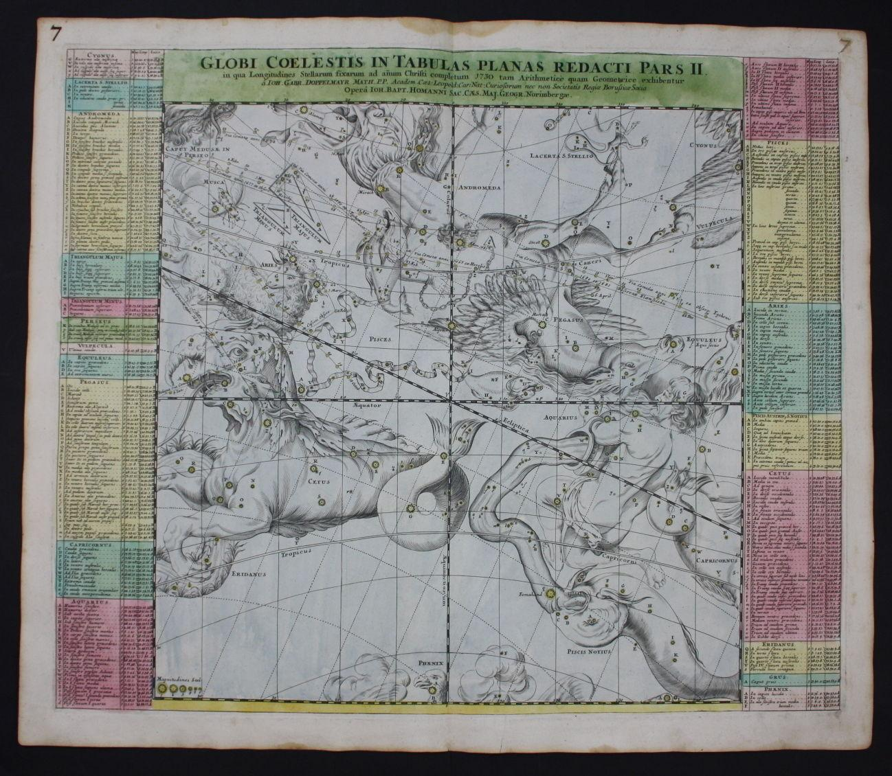 celestial chart map star stars Globe World Homann engraving ... on