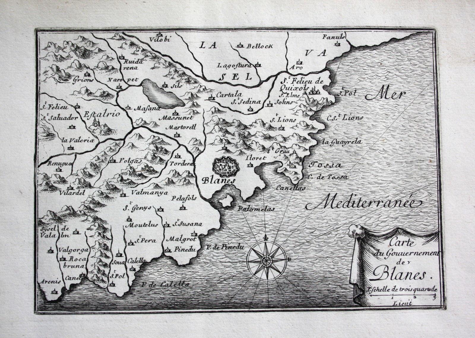 Carte Espagne Costa Brava Blanes.Blanes Costa Brava Spanien Espana Karte Map