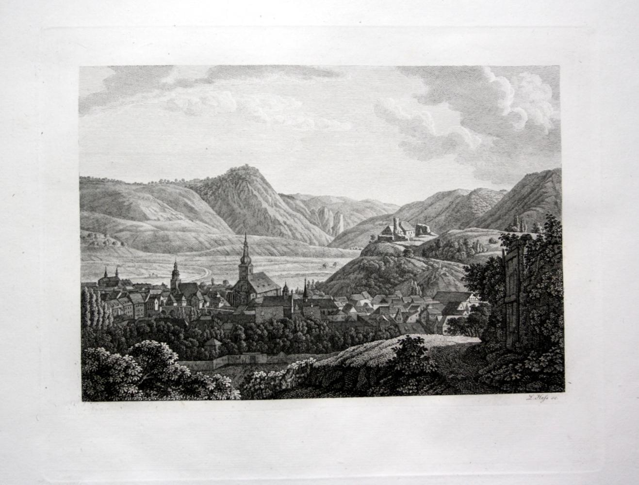 Bad Kreuznach Gesamtansicht Ansicht Kupferstich: Hess, Ludwig: