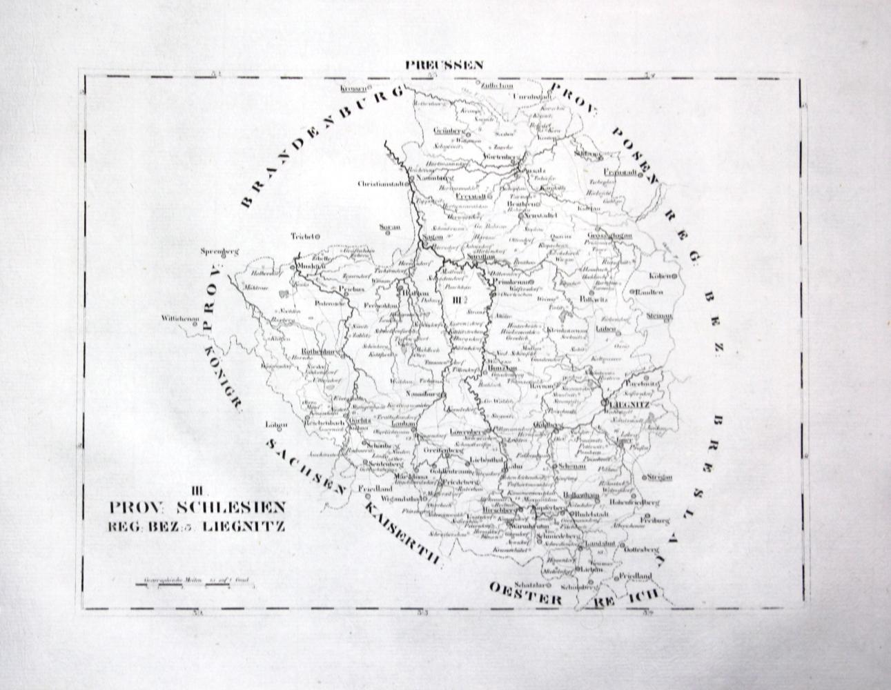 Polen Schlesien Karte.Schlesien Liegnitz Legnica Szprotawa