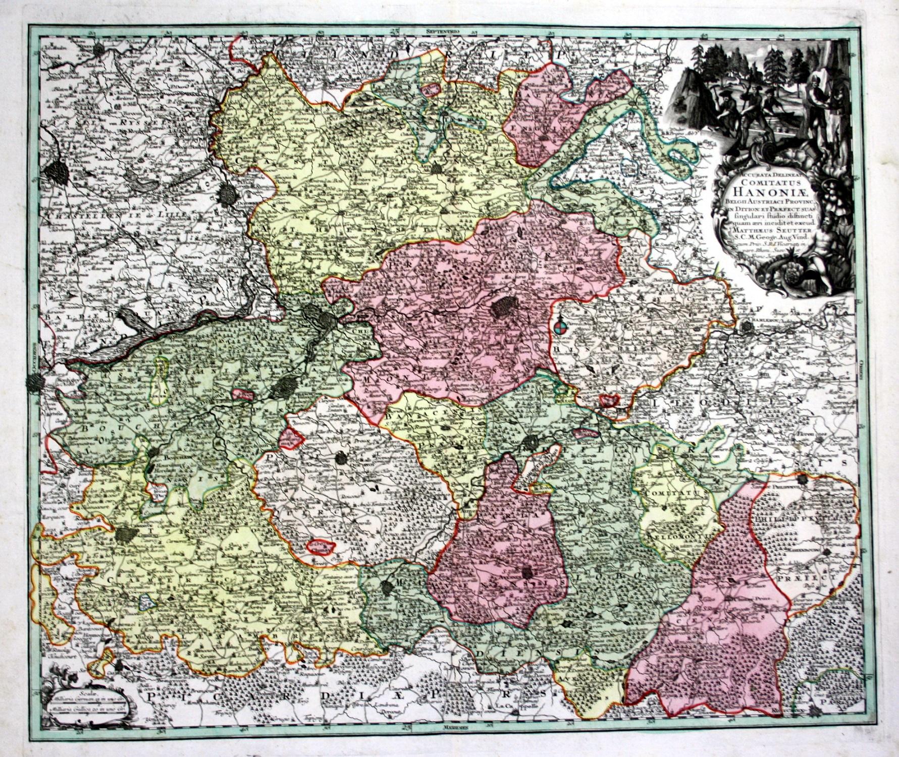 Carte Belgique Mons.Accurata Delineat Comitatus Hanoniae Hainaut Belgium Belgique