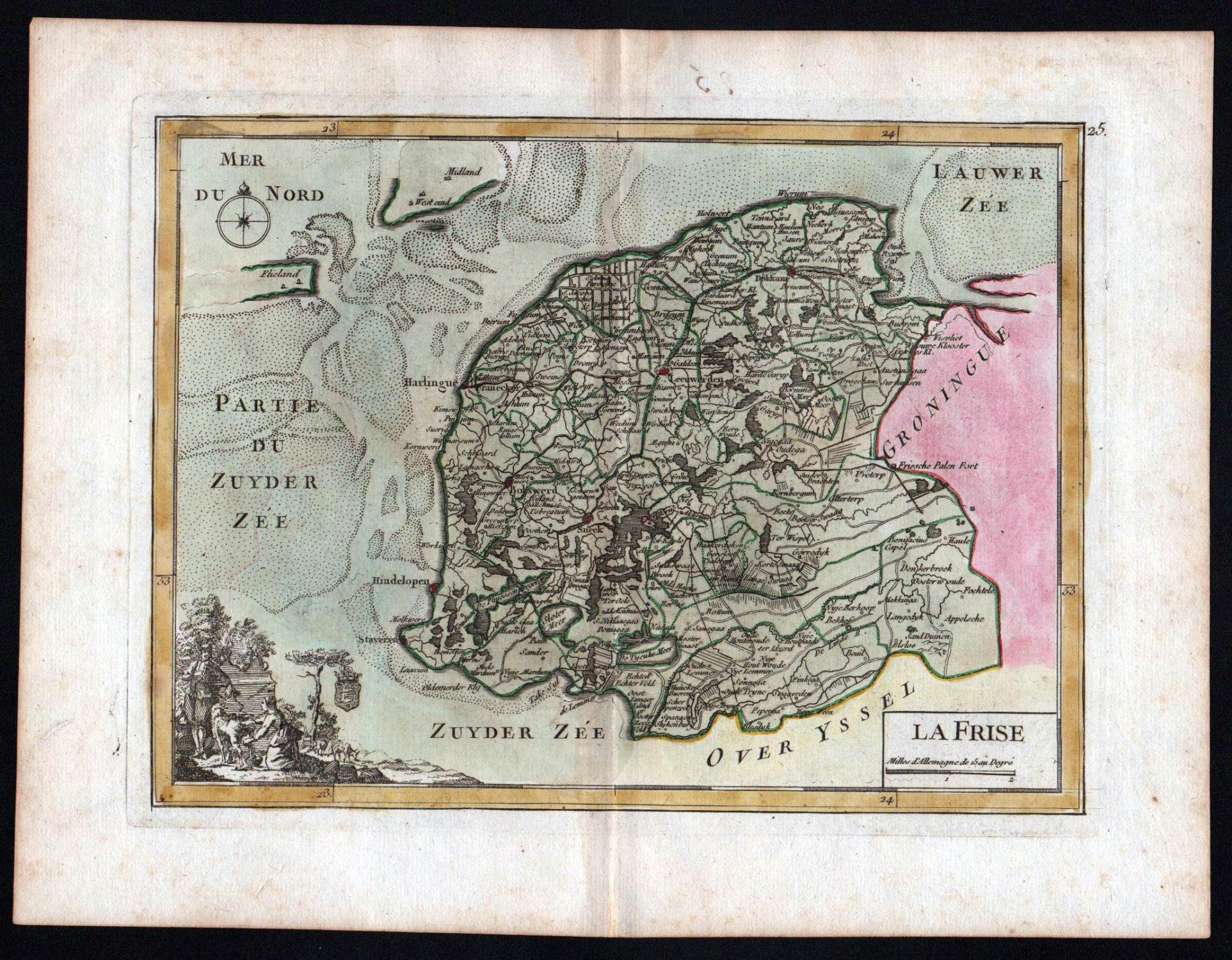 La Frise Friesland Leeuwarden Nederland Karte Map Kupferstich