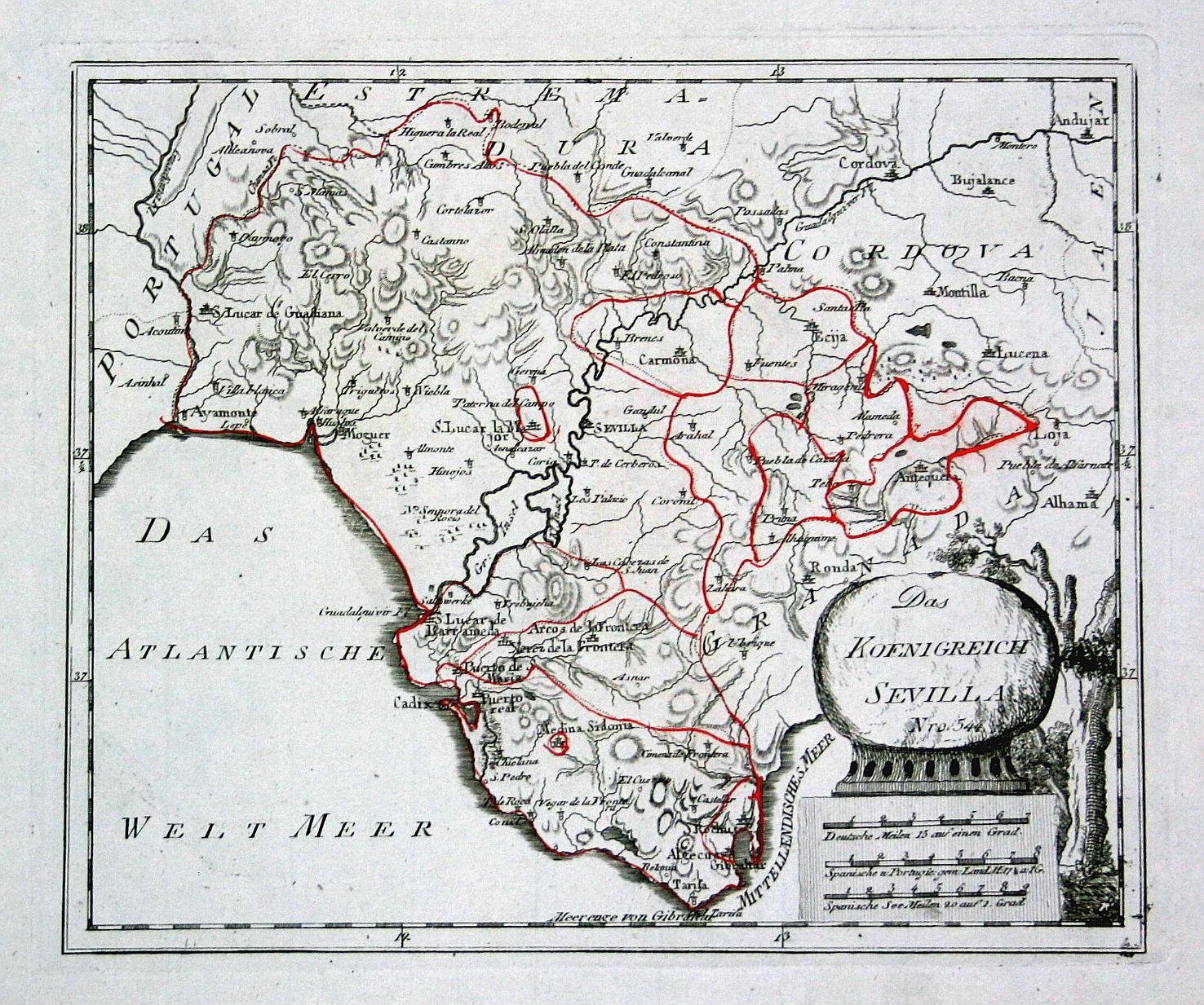 Granada Karte.Das Koenigreich Sevilla