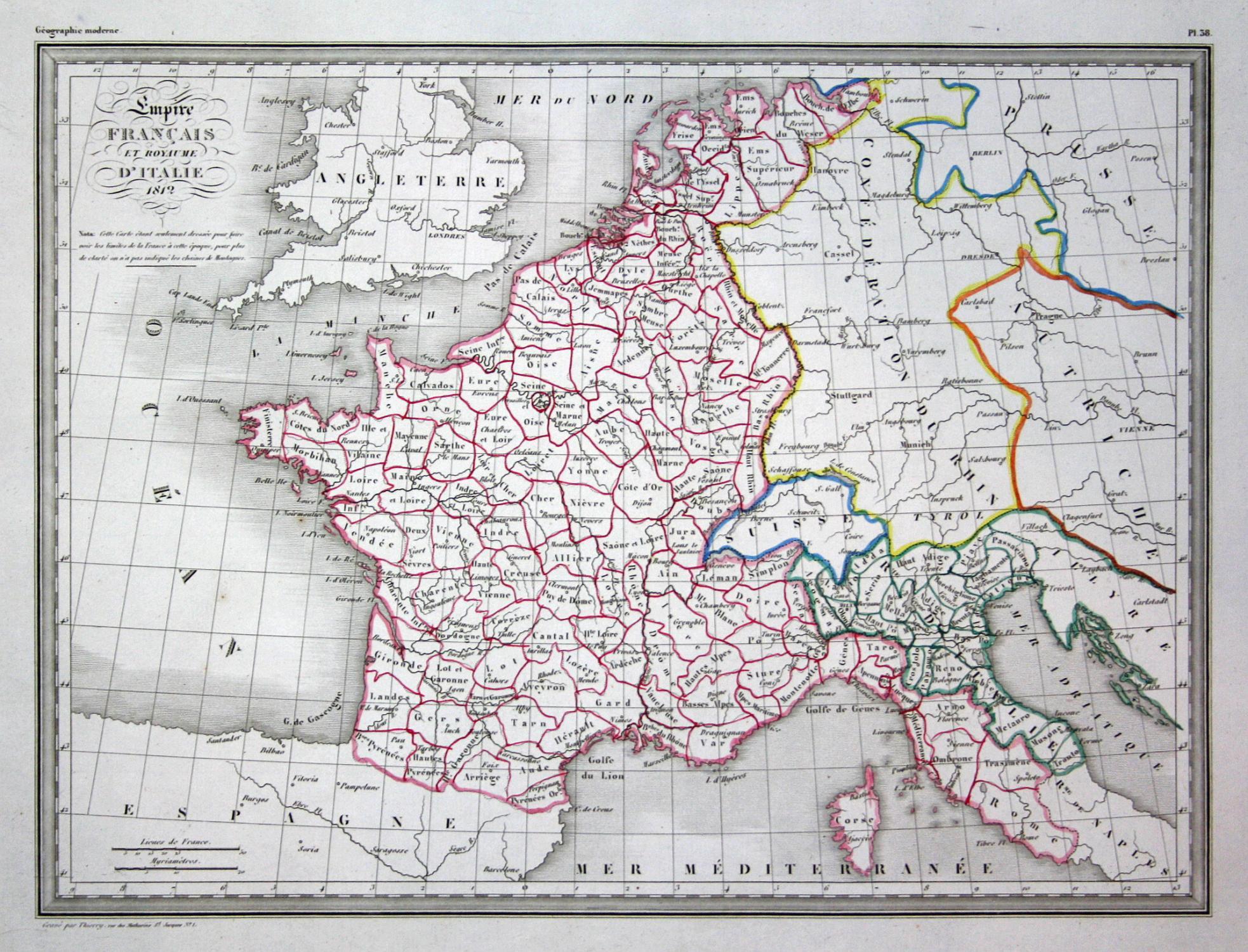 Karte Italien Frankreich.Empire Francais Et Royaume D Italie