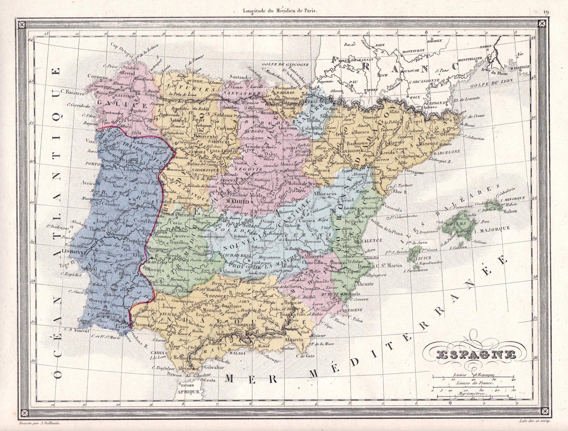 Espagne Spain Spanien Espagne Portugal Madrid Europe Europa Karte