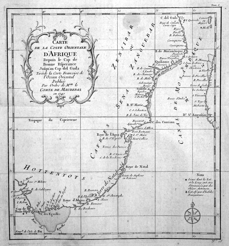 Carte de la Coste orientale d\'Afrique\
