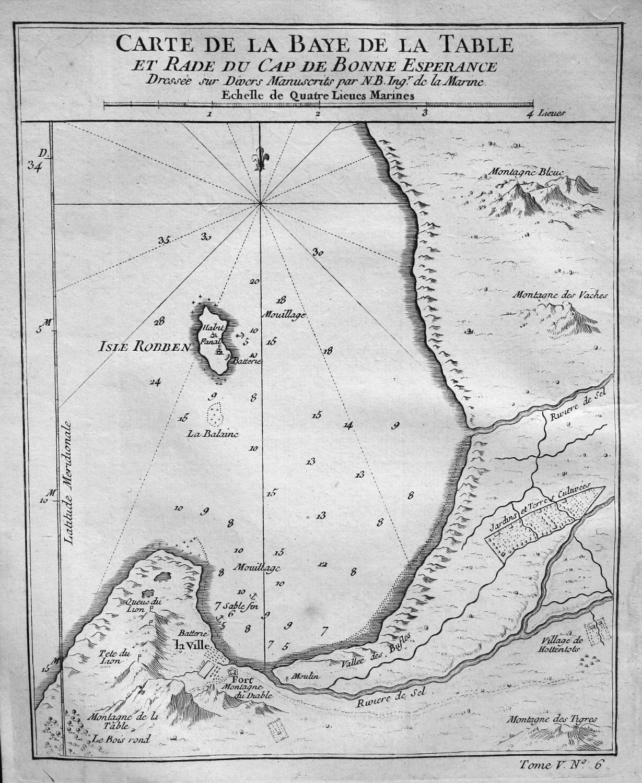 Carte de la Baye de la Table et Rade du Cap ...