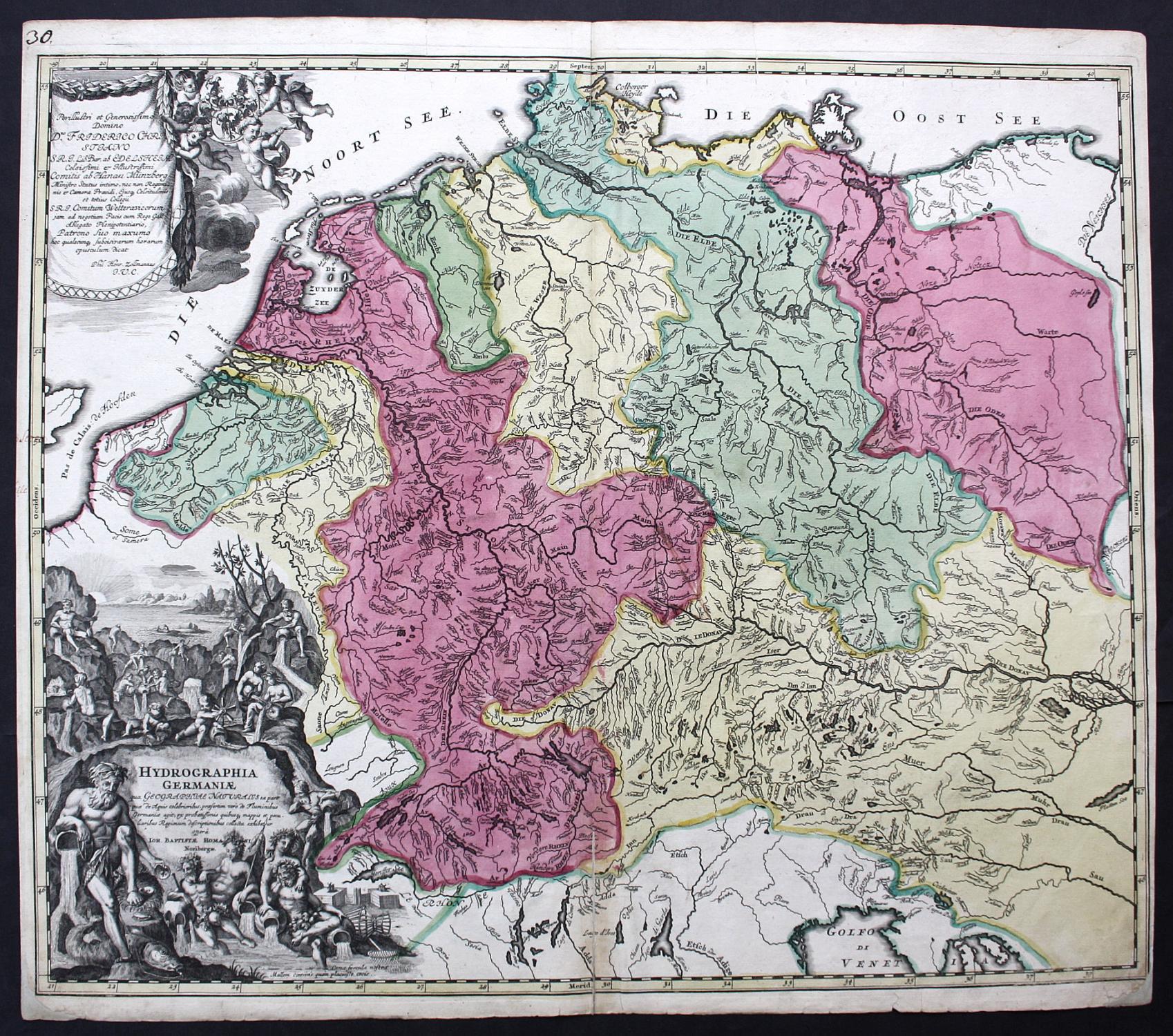 Nürnberg Karte Deutschland.Hydrographia Germaniae Deutschland Flüsse Karte Map Kupferstich