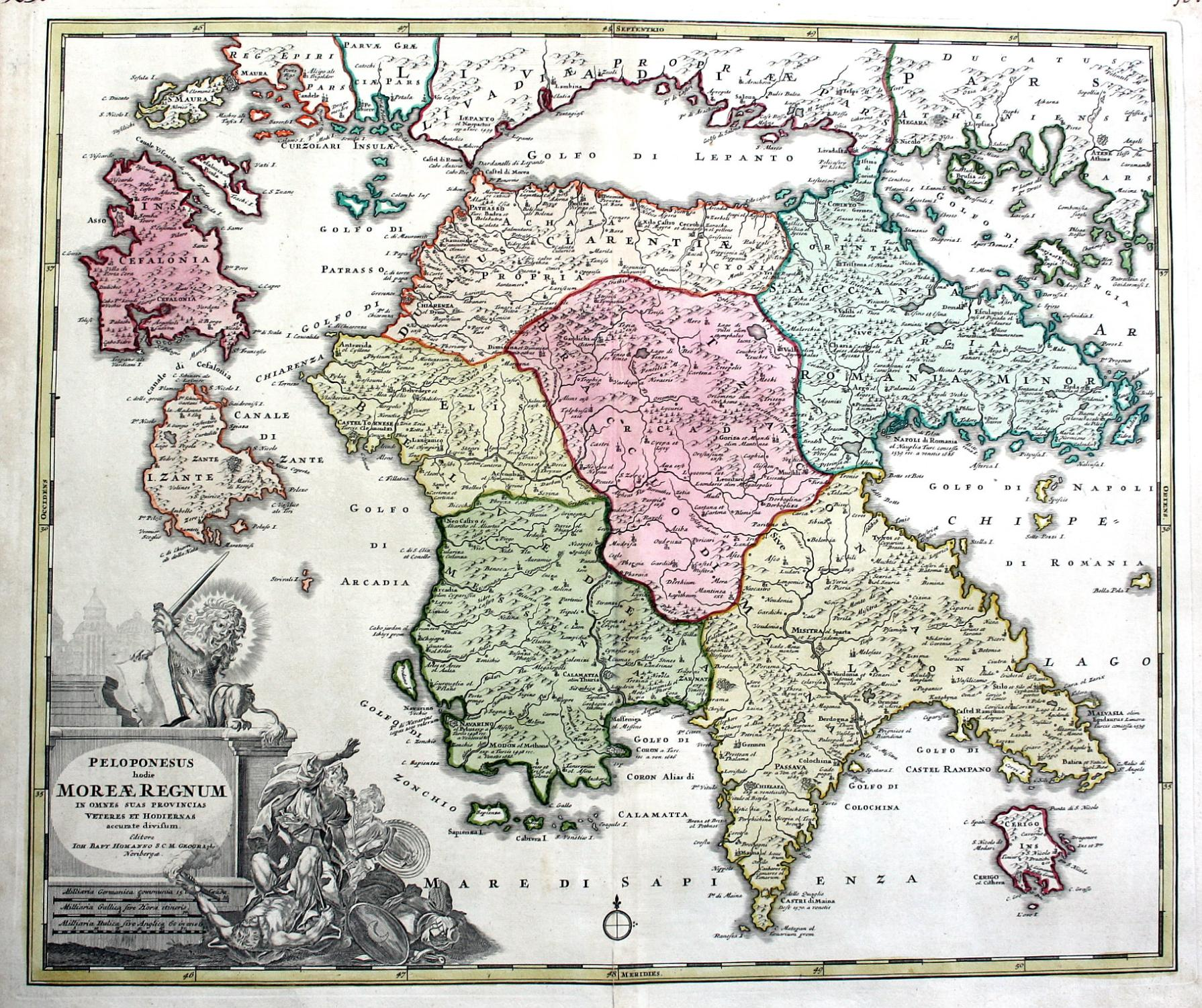 Griechenland Peloponnes Karte Deutsch.Peloponesus Hodie Moreae Regnum Peloponnes Peloponnese Kefalonia