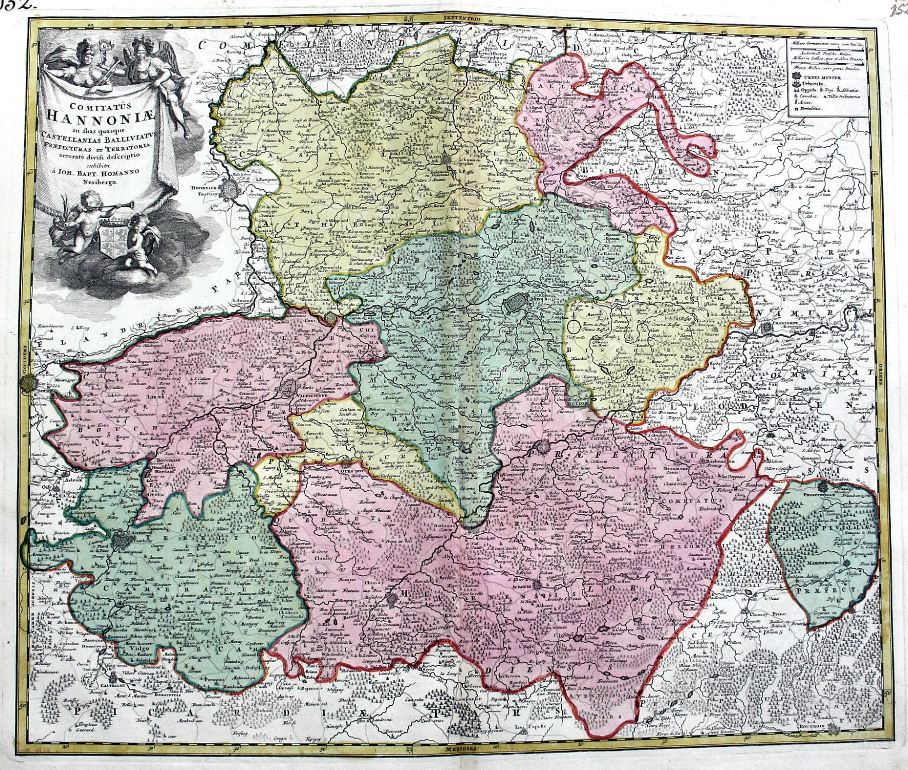 Carte Belgique Mons.Comitatus Hannoniae Hennegau Hainaut Quesnoy Mons Valenciennes