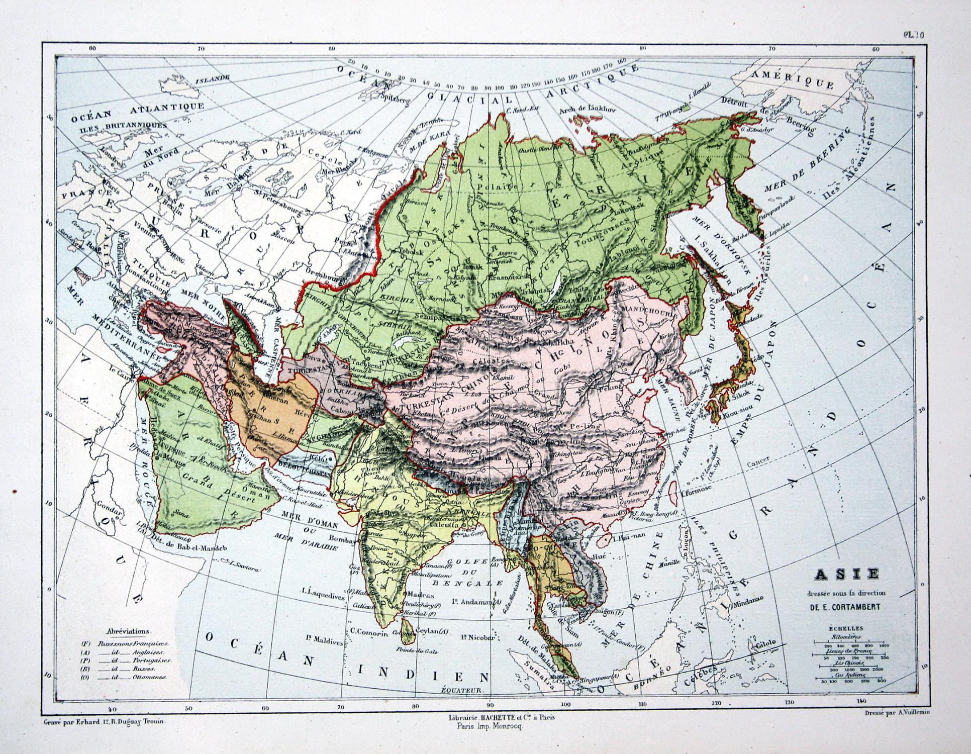 Asie Asia Asien Arabia Arabien India Indien China Weltkarte