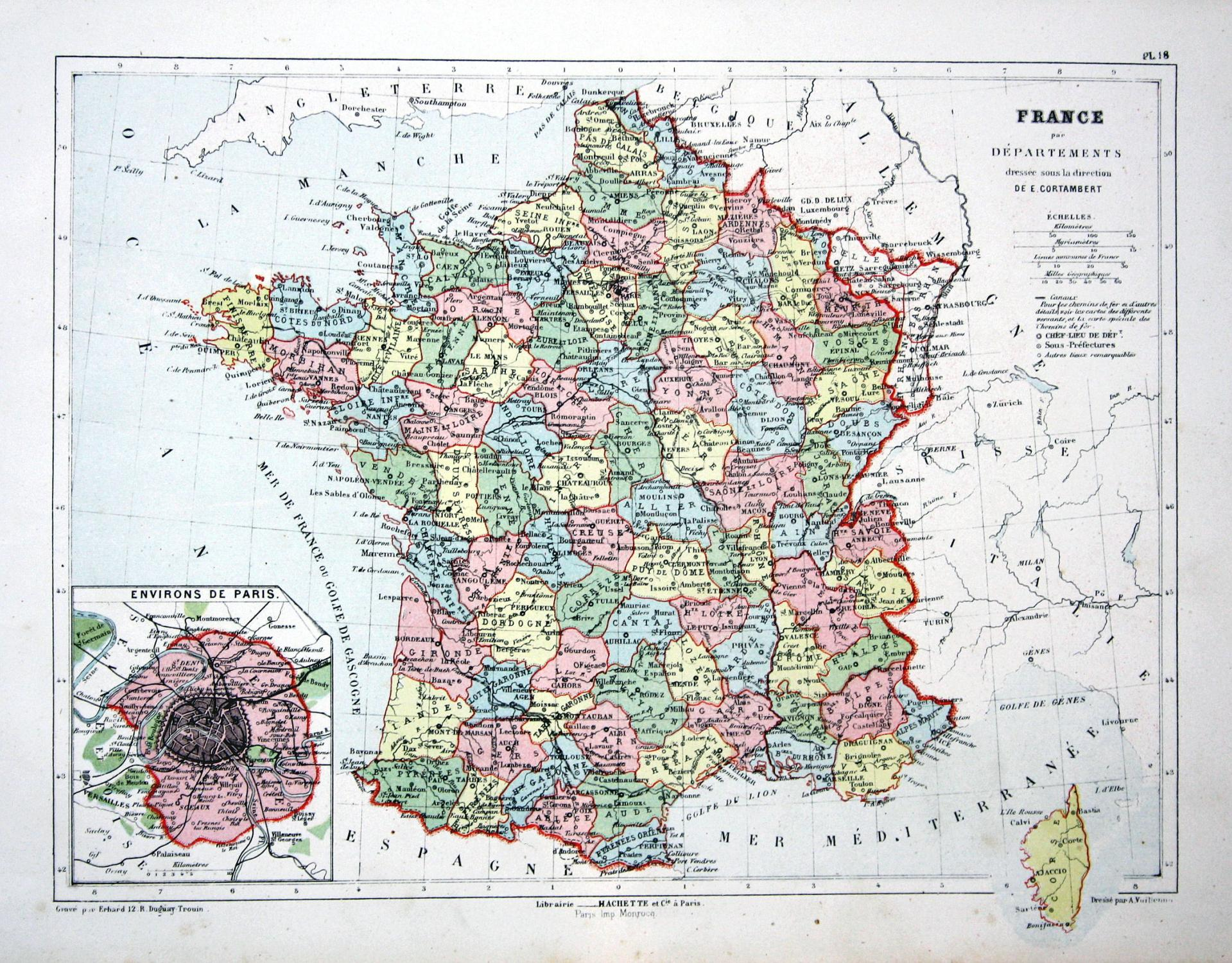 France Par Departements Paris France Frankreich Weltkarte Karte