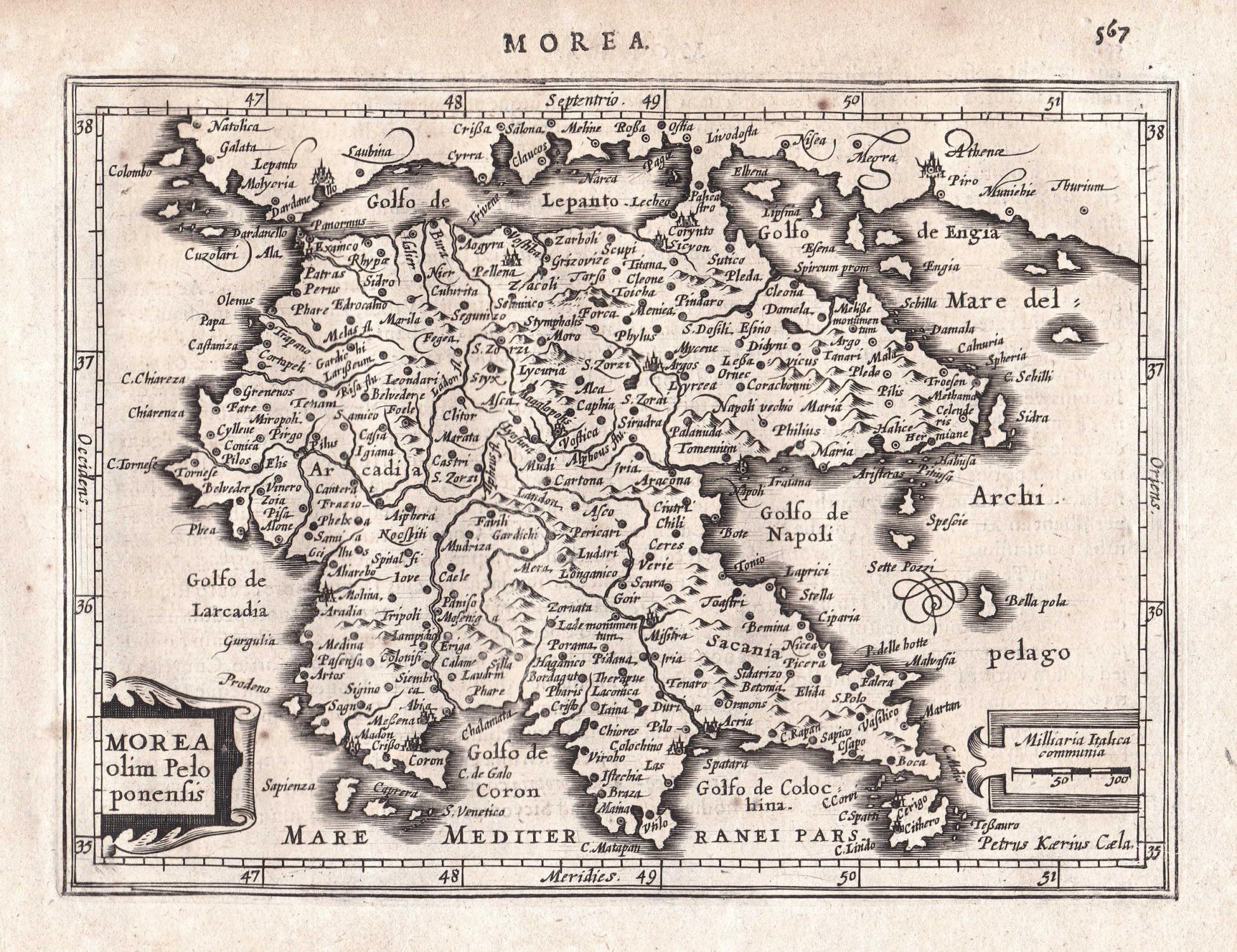 Peloponnes Karte.Morea Olim Peloponensis