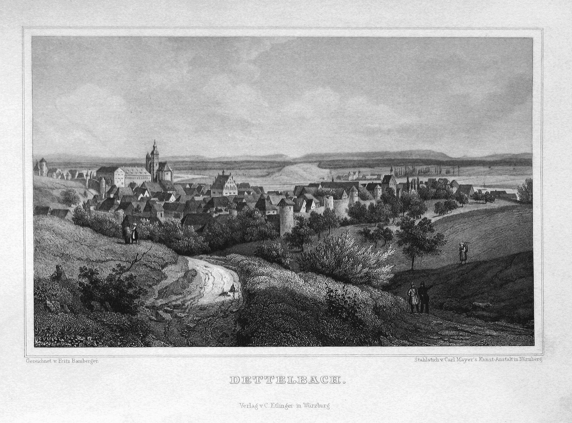 """Dettelbach"""" - Dettelbach Bayern Unterfranken Ansicht view: Bamberger, Fritz (1814-1873):"""