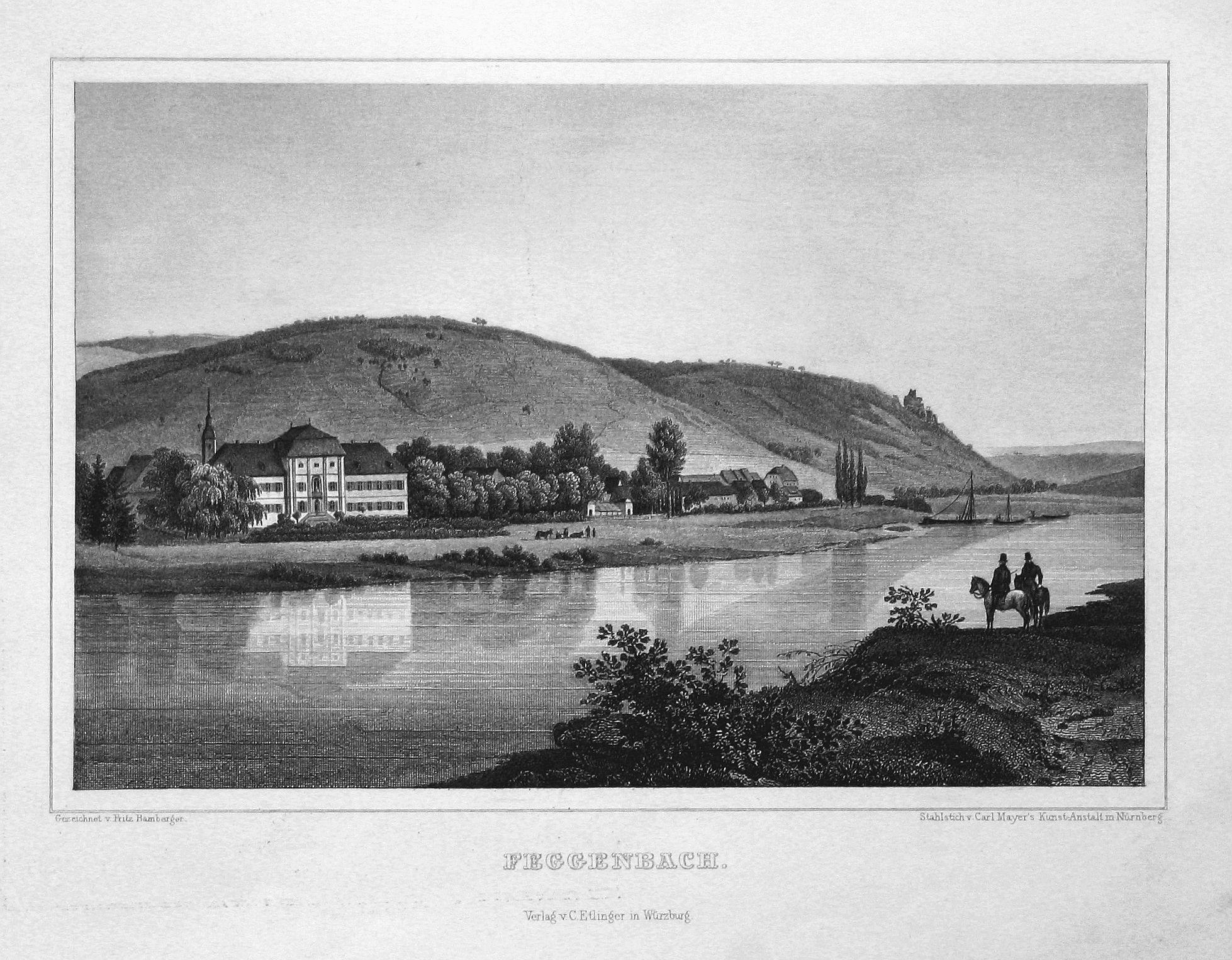 """Feggenbach"""" - Fechenbach Bayern Unterfranken Ansicht view: Bamberger, Fritz (1814-1873):"""