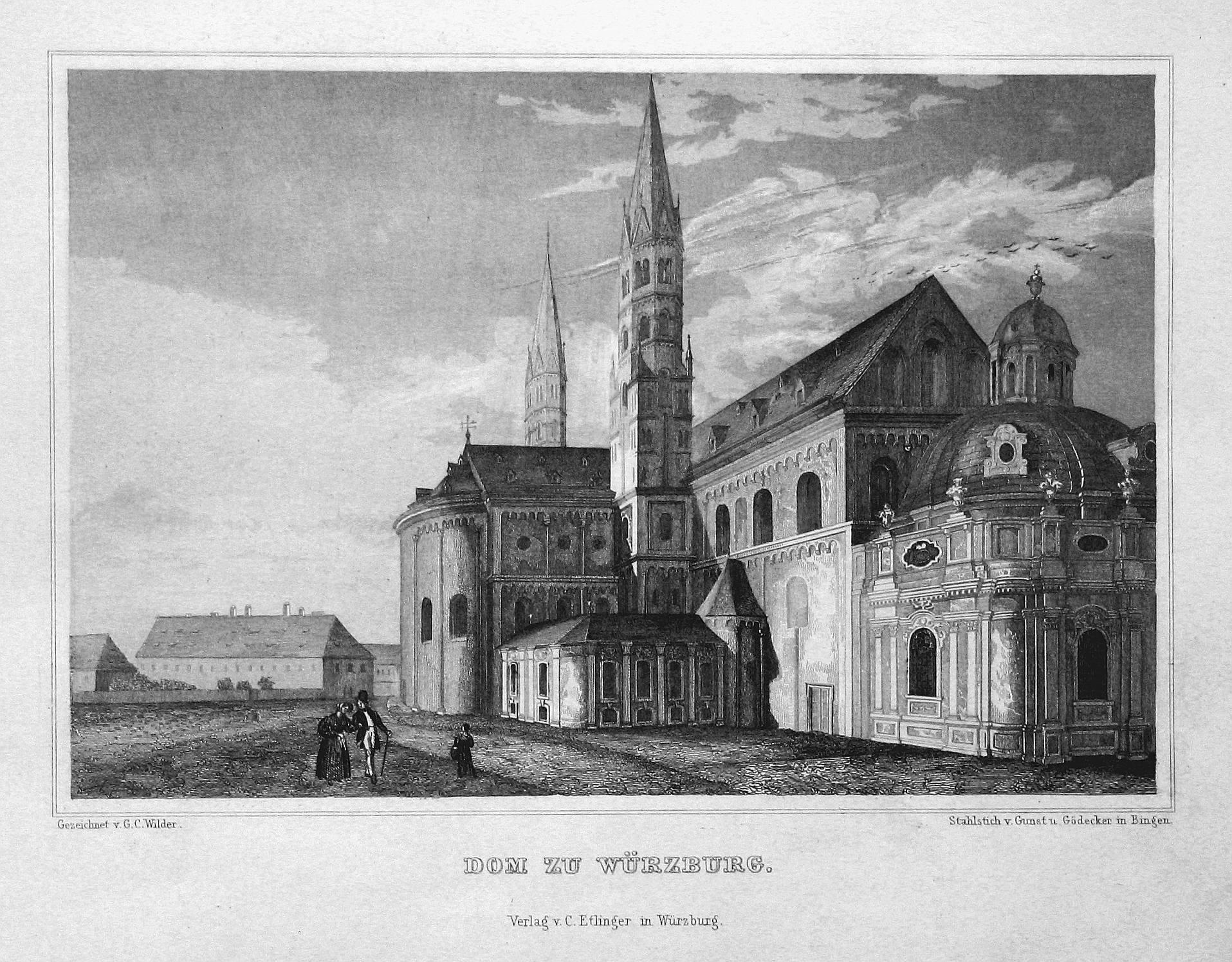 """Dom zu Würzburg"""" - Würzburg Bayern Dom: Bamberger, Fritz (1814-1873):"""