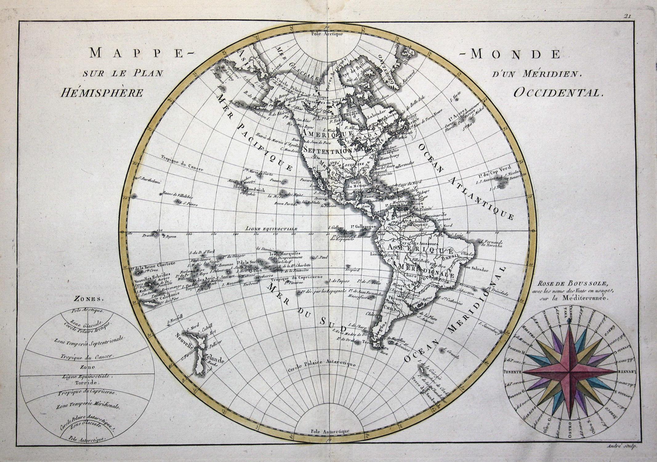 Mappe Monde Sur Le Plan D Un Meridien Hemisphere Occidental