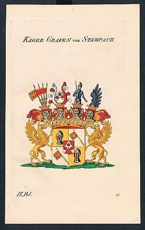 Kager Grafen von Stampach Wappen Kupferstich Genealogie Heraldik crest