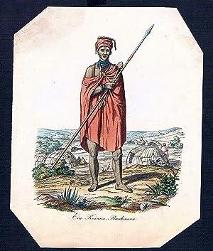 Khoisan Afrika Africa costume Holzschnitt wood engraving