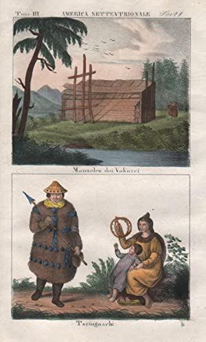 North America Indians litho Lithograph antique print