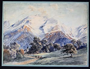 Carl Just Montblanc Mont Blanc Aquarell signiert drawing painting Monte