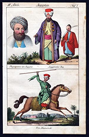 Egypt Afrika Mamluk people horse costumes handcolored