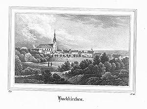 Hochkirchen Gesamtansicht Kirche Sachsen Original Lithographie Litho