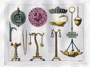 Griechen Antike Altertümer Vasen Lampen Aquatinta