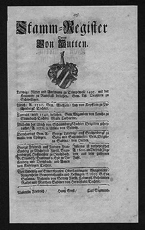 Hutten Harraß Stammbaum Ahnentafel family tree Wappen coat of arms