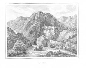 Höhlenberg Predjama Pastojna Slovenia Stahlstich