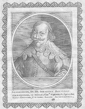 Johan Baner Sweden Schweden Feldmarschall Portrait Kupferstich