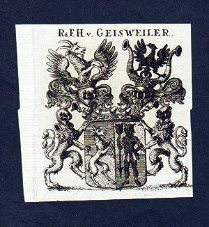 Freiherren von Geisweiler Kupferstich Wappen
