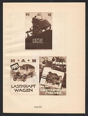 Ludwig Hohlwein Reklame Werbung Plakat MAN LKW