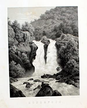 Hunderfossen-Waterfall near Lillehammer Norway Lithographie